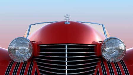 coche clásico: Vista frontal del auto retro rojo sobre fondo de cielo azul