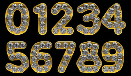 0 9: Golden 0 - 9 numerals incrusted with diamonds.