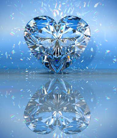 prisme: Coeur en forme de diamant au bleu avec r�flexion.  Banque d'images