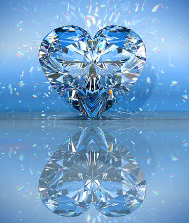 Heart shaped diamond over blue with reflection.  Stock Photo