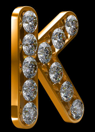 Golden K letter incrusted with diamonds.  photo