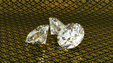 Three large brilliant cut diamonds over golden dollar background Stock Photo - 7694784