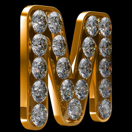 alphabetic character: Golden M letter incrusted with diamonds.