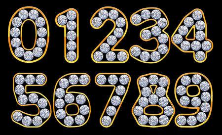 0 9: Orange 0 - 9 numerals incrusted with diamonds.