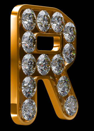 alphabetic character: Golden R letter incrusted with diamonds.  Stock Photo
