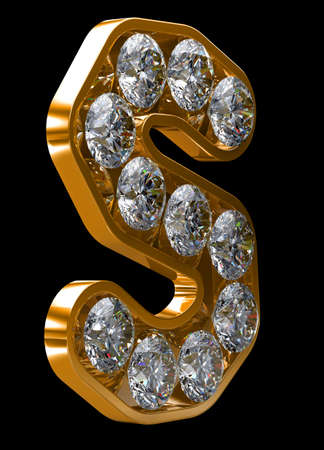 alphabetic character: Golden S letter incrusted with diamonds.