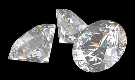 Three large brilliant cut diamonds over background Stock Photo - 7694602