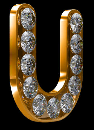 Golden U letter incrusted with diamonds.  photo