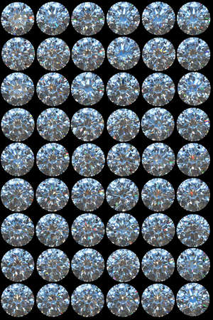 Collage  - Top views of diamonds with different lighting settings and reflections Stock Photo - 7694985