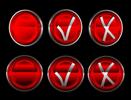 Collection of buttons over black - yes, no, blank, check, mark photo