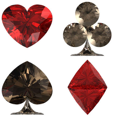 ruby: Colored Diamond shaped Card Suits over white background. Other gems are in my portfolio. Stock Photo