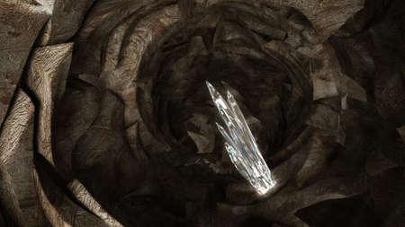 Treasure - crystal columns in the dark cave