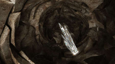 salt mine: Treasure - crystal columns in the dark cave