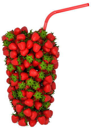Glass shape assembled of strawberry with straw over white.  Stock Photo