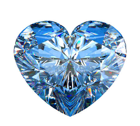 diamond shaped: Heart shaped diamond isolated over white.