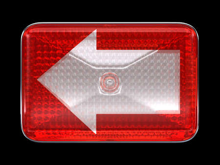 headlamp: Left direcion arrow button or headlight isolated over black