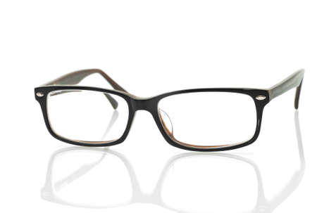 wearing glasses: Modern glasses with reflection over white background Stock Photo