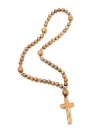 rosary beads: Top view of Wooden rosary beads over white