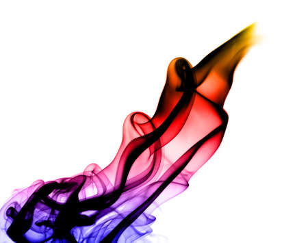 Gradient colored Abstract smoke pattern over white background photo