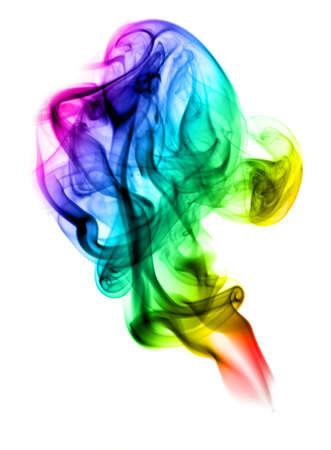 puff: Colorful Abstract fume waves pattern over white background