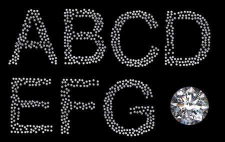 Diamante A-g lettere con grande gemma. Altri caratteri sono nel mio portafoglio Archivio Fotografico - 7843792