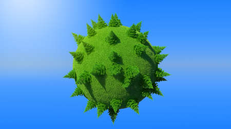 Green Earth planet with firtrees concept and blue sky. Large resolution Stock Photo - 7843793