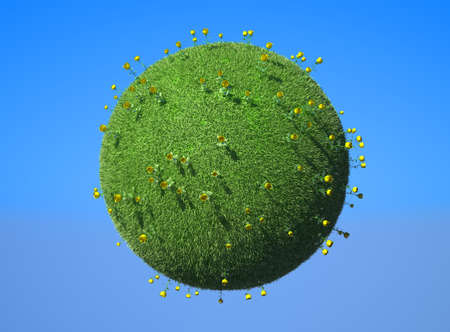 Green concept - Earth planet with roses and blue sky. Large resolution Stock Photo - 7843826