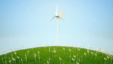 Power generating windmills, green grass and blue sky Stock Photo - 7843796