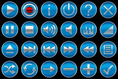 Round blue Control panel icons or buttons isolated on black photo