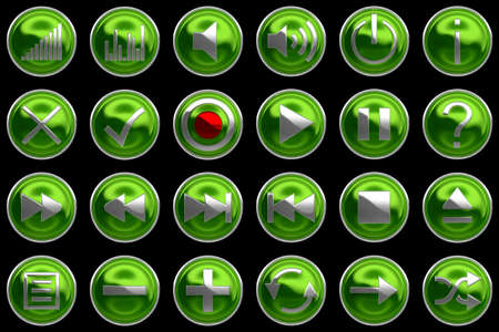 Round green Control panel icons or buttons isolated on black photo