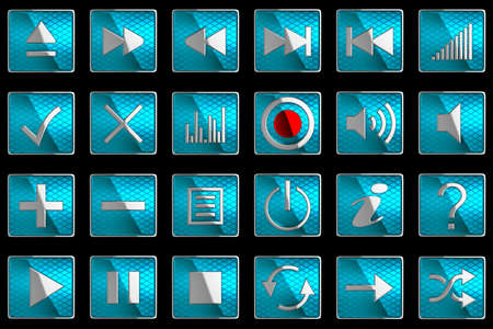 Square blue Control panel icons or buttons isolated on black photo