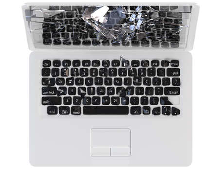 hack: Laptop Computer crash concept - hack, trojan, virus, cybercrime. Large resolution, isolated over white  Stock Photo