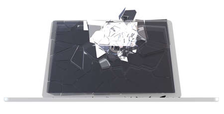 Laptop Computer damage concept - hack, trojan, virus, cybercrime. Large resolution, isolated over white  photo