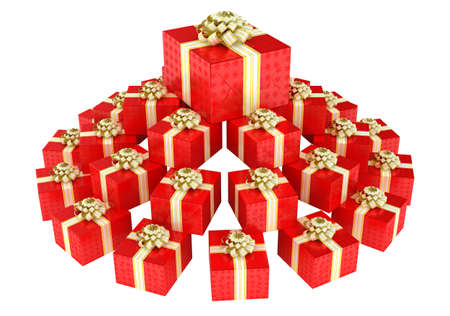 cone shaped: Cone shaped heap of red gift boxes with presents