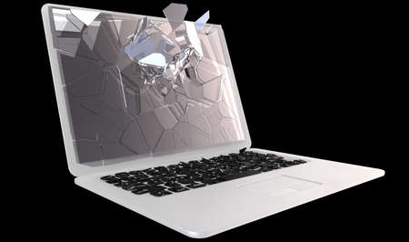 Laptop Computer damage concept - hack, trojan, virus, cybercrime.  Large resolution, isolated over black Stock Photo - 7891484
