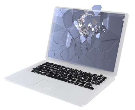 Laptop Computer damage concept - hack, trojan, virus, cybercrime.  Large resolution, isolated over white   Stock Photo - 7891481