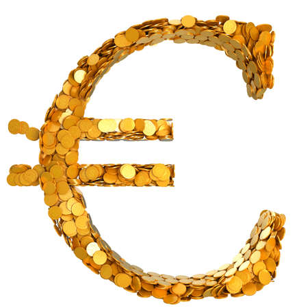stability: Euro currency stability. Symbol assembled with coins. Isolated on white