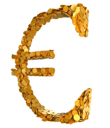 Euro currency stability. Symbol assembled with coins. Isolated on white Stock Photo - 8002643