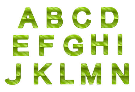 grass font: Green ecofriendly A-N letters with grass pattern over white