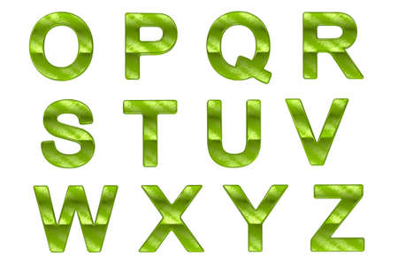 oz: Green ecofriendly O-Z letters with grass pattern over white