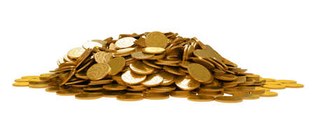 Heap of golden coins isolated over white