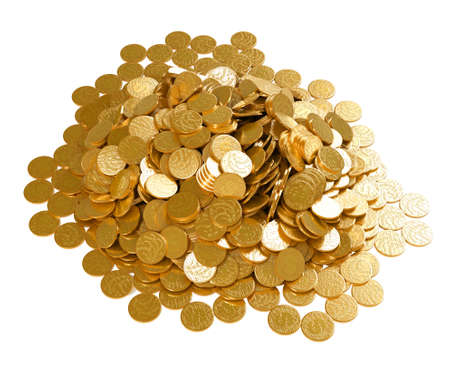 cuve: Save the money. Stack of golden coins isolated over white