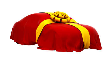 mystery: Car of Dream covered with red cloth and ribbon.