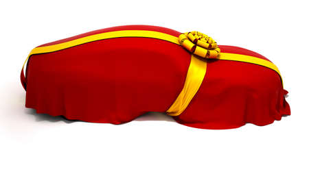 reveal: Car of Dream or present reveal. Vehicle covered with red cloth and ribbon.