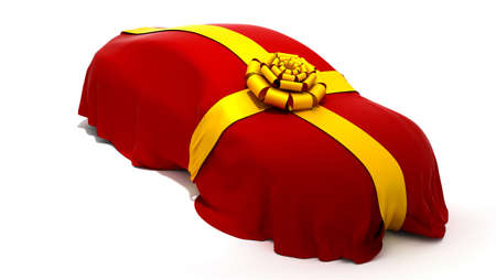 Car of Dream purchase or presentation. Vehicle covered with red cloth and ribbon. photo