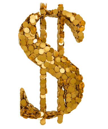 us currency: USA Dollar Currency symbol shaped with coins. Isolated on white. Other symbols are in my portfolio Stock Photo
