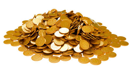 cuve: Earnings. Heap of golden coins isolated over white