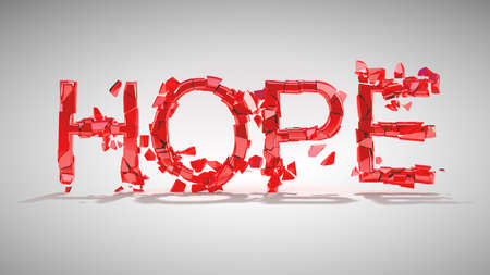 chromeplated: Hope is lost. Word destruction over grey background with shadow. Other words are in my portfolio Stock Photo