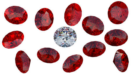 Crystal diamond among red rubies isolated over white. Extralarge resolution  photo