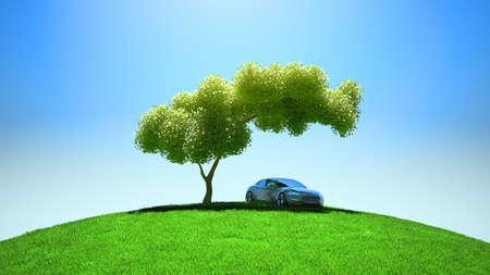 under the tree: Moderno veh�culo bajo el �rbol en el cielo azul y fileld verde